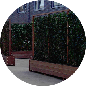 Living barrier and vertical planting on a living wall system